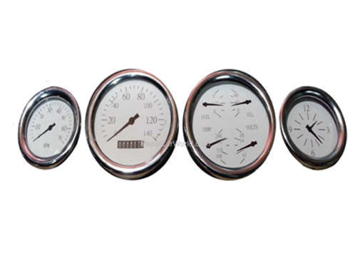 Pedal Car Dashboard Gauge Set - White Finish