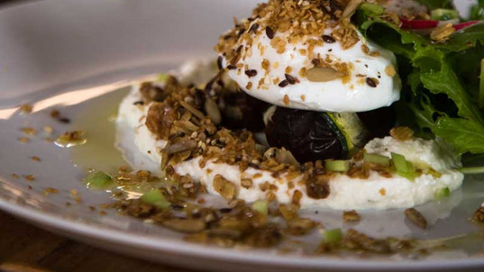 Soft boiled eggs and savory granola