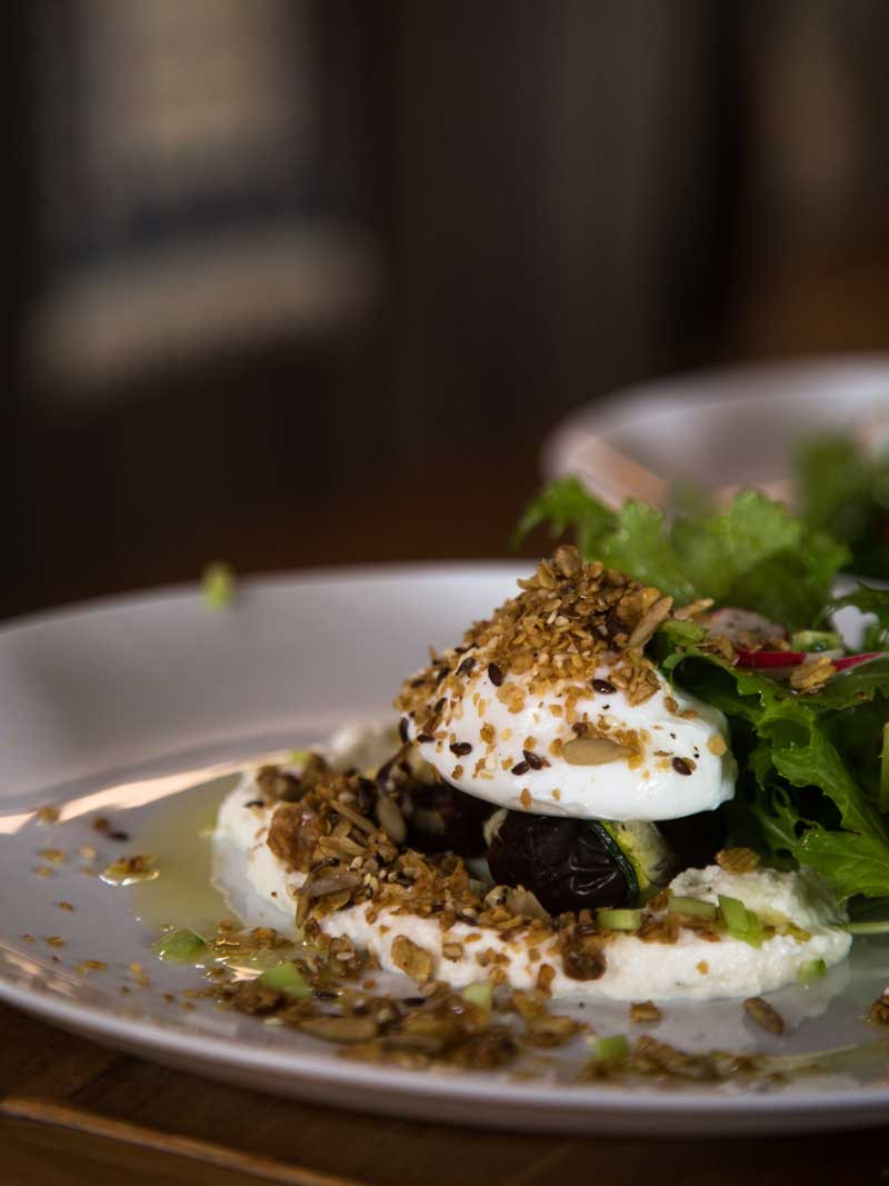 Poached Eggs on Stuffed Dates with Savory Granola