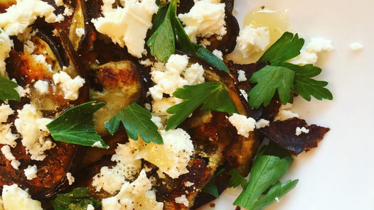 Eggplant Chips with Goat's milk Feta and Honey