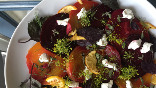Golden Beets stained Red, goat cheese and Cilantro flowers