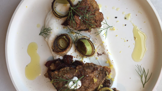 Schnitzel Fried Livers and Leeks