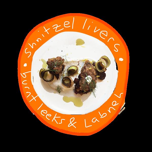 shnitzel chicken livers, burnt leeks, labneh