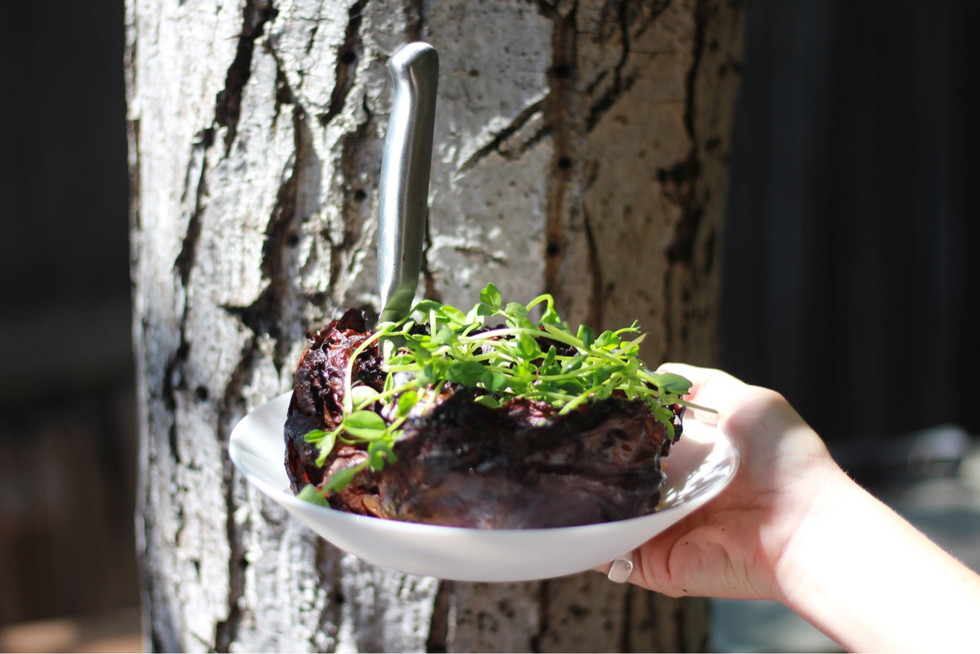 Whole Roasted Purple Cabbage with Spicy Honey and Greens