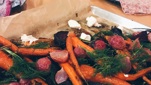 carrots and beets with labneh and dill