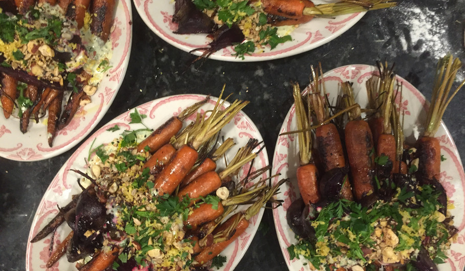 Smoked Carrots with Buttermilk Ranch and crunch