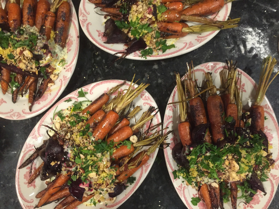 Smoked Carrots with Ranch Dressing, Carrot Top oil and Dukkah
