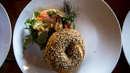 Handrolled everything bagel, cured salmon, sunchoke chips