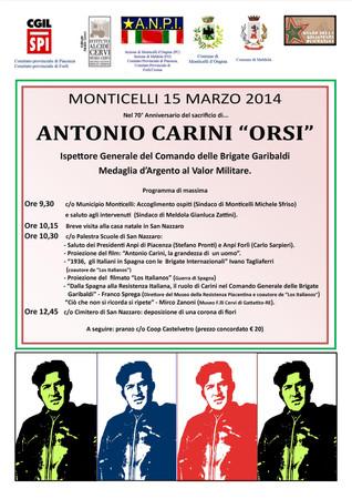 Commemoriamo il 70° anniversario della morte di Antonio Carini - di Mario Miti, ANPI di Monticelli d