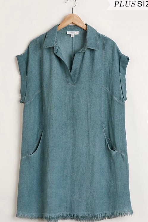 Lagoon Frayed Dress Plus Sized