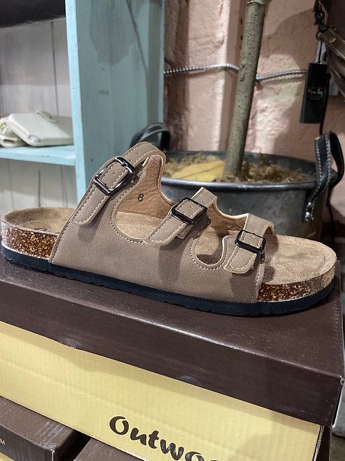 Taupe Leather 3 Strap Sandals