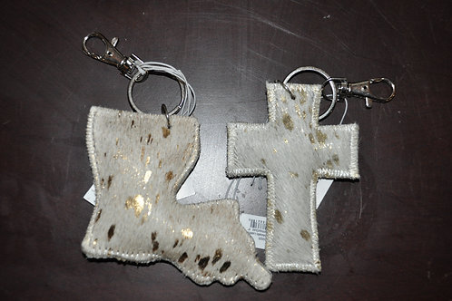 Speckled Metallic Leather Keychains