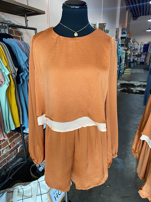 Lily Puff Sleeve Copper Romper