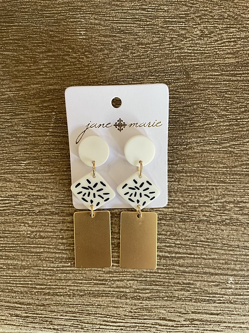 Gold and White Rectangle Studs