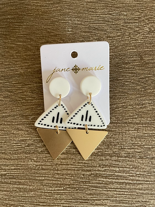 Gold and White Triangle Studs