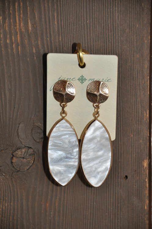 White Stone Oval Studs