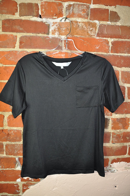 Black V-Neck Pocket Tee