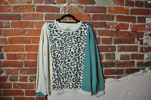 Teal Cheetah Sweater