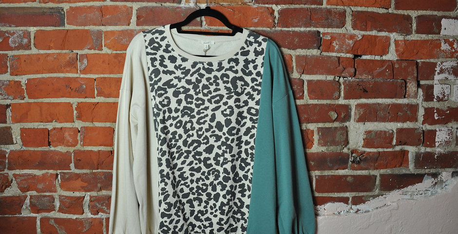 Teal Cheetah Sweater
