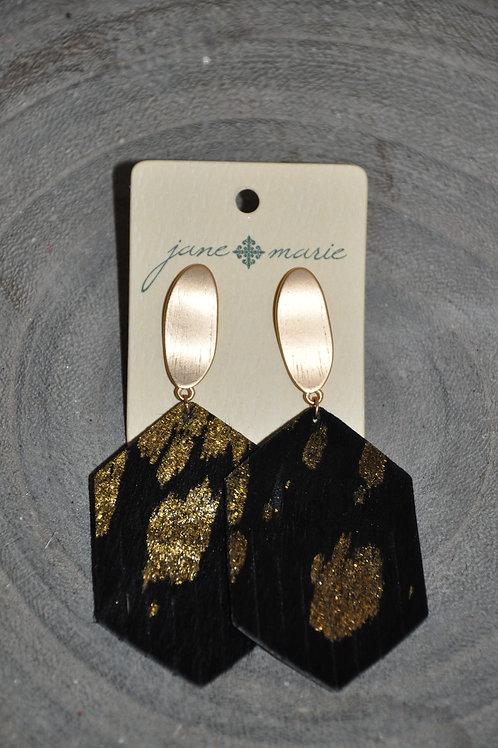 Black/Gold Cowhide Studs