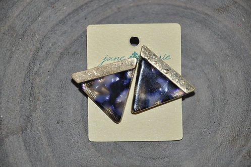 Blue Marble Triangle Studs