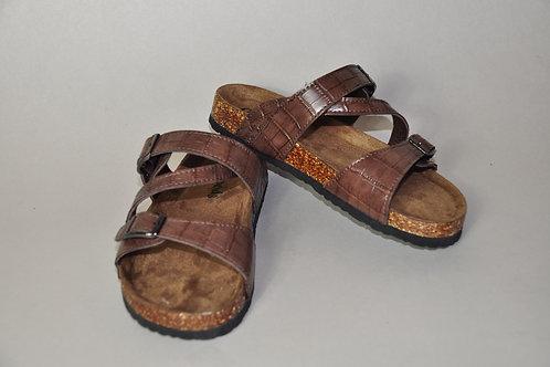 Brown Textured Sandals