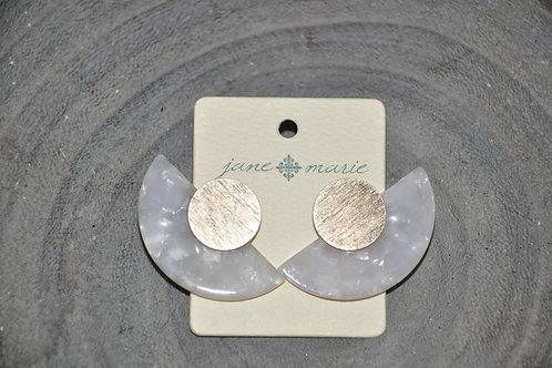 White Marble Semi-Circle Studs