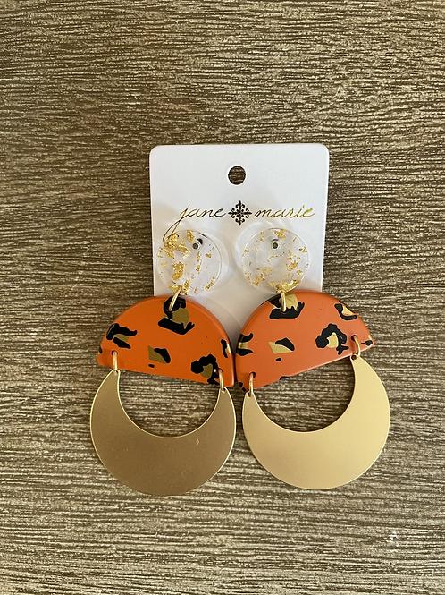 Orange Cheetah Studs