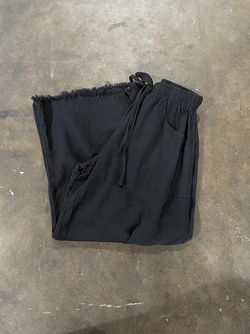 Frayed Black Cotton Bottoms