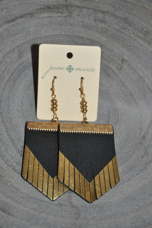 Gold Fringe Leather Dangles