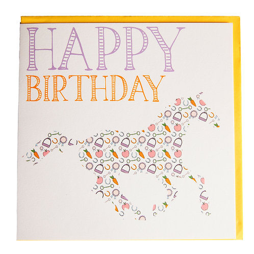 Gubblecote Card - Happy Birthday Thoroughbred Print