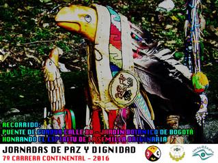 "Llega a Bogotá la VII Carrera continental  de ""Jornadas de Paz y Dignidad"" a honrar el Espíritu de l"