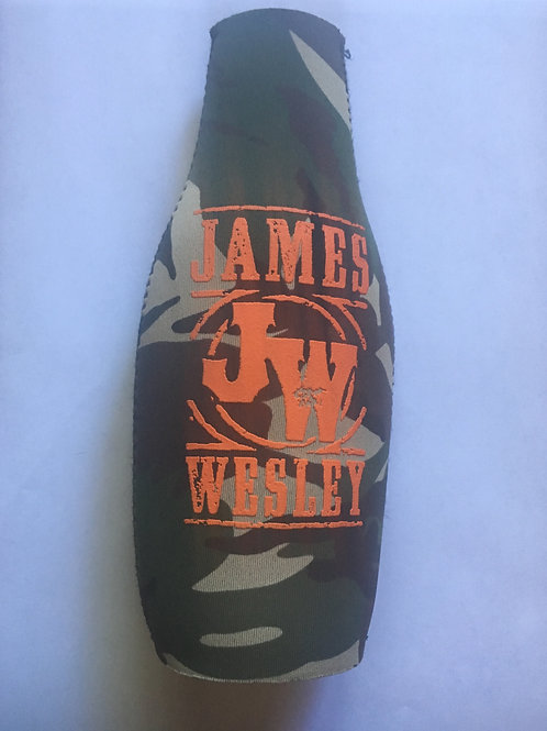 "James Wesley ""JW"" Zip-Up Fabric Camouflage Bottle Koozie"