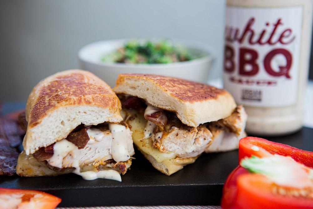 White BBQ sandwich, crestline urban cookhouse,