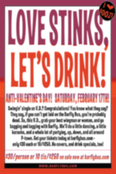 Love Stinks Let's Drink BarFly Bus Tour Poster