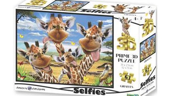 Puzzle 3D Selfie des Giraphes 63 Pièces