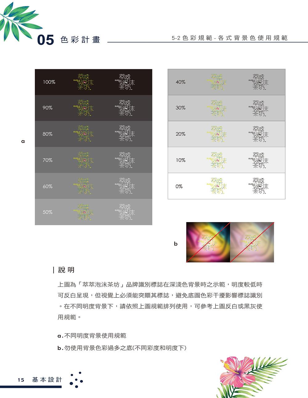 萃萃泡沫茶坊 品牌識別系統手冊 背景色使用規範