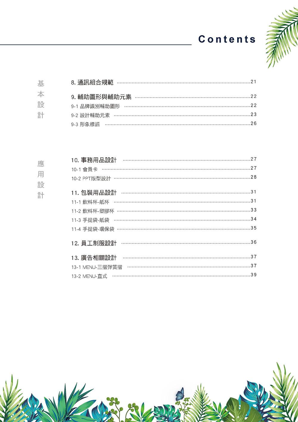 萃萃泡沫茶坊 品牌識別系統手冊 目錄2