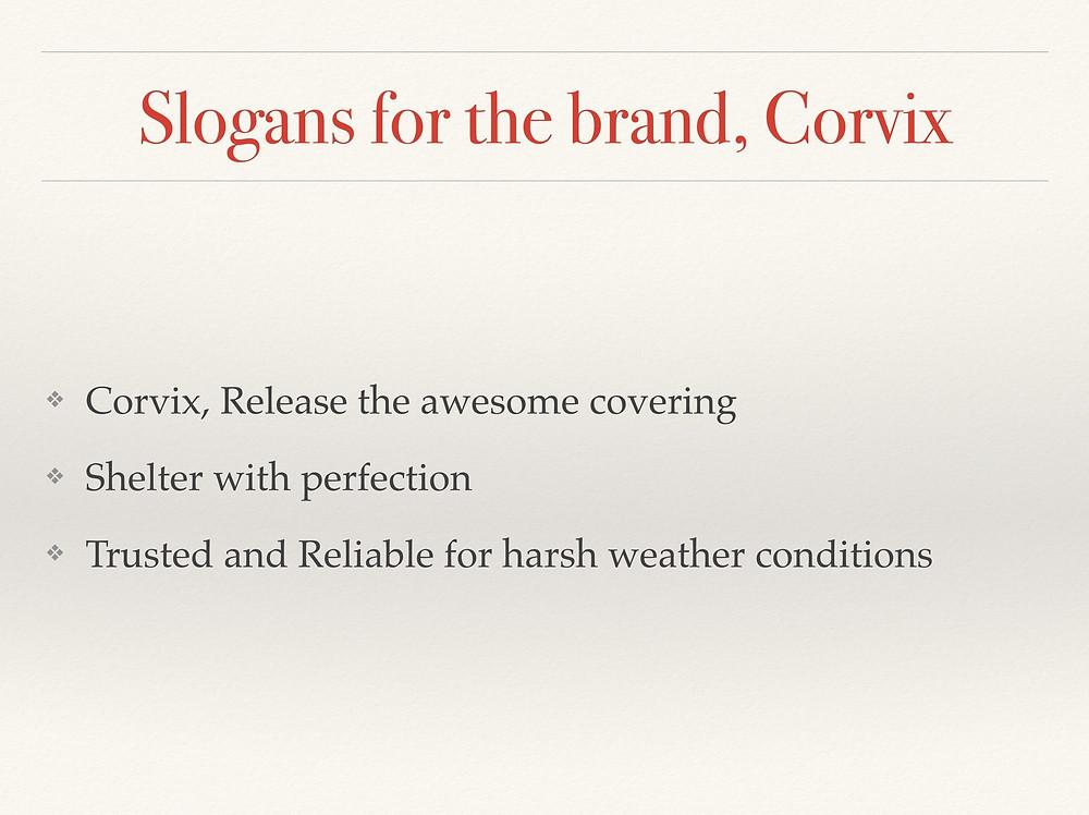 Corvix 品牌 SLOGAN 標語