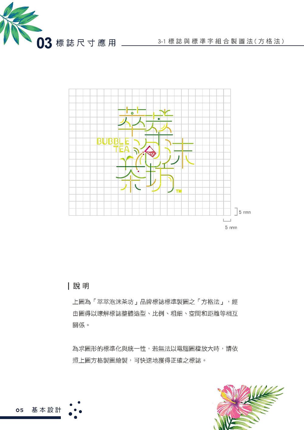 萃萃泡沫茶坊 品牌識別系統手冊 方格法