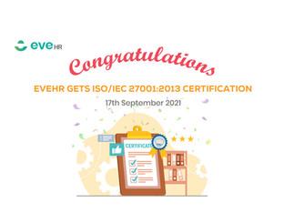 EVEHR ĐƯỢC CẤP CHỨNG NHẬN TIÊU CHUẨN ISO/IEC 27001:2013