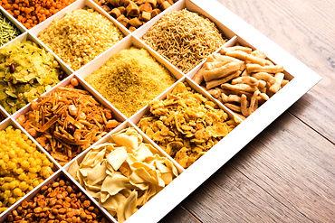 Indian Tea-time snacks like sev, chivda,