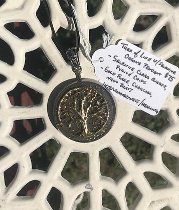Tree of Life & Selenite on Charcoal Orgone Pendant