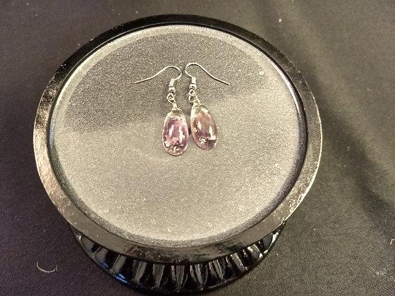Amethyst W/ Silver Flake Earrings