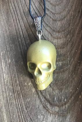 Brass & Clear Quartz Skull Orgone Pendant