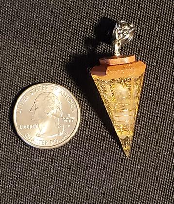 Clear Quartz & Gold Flake Orgone Pendulum