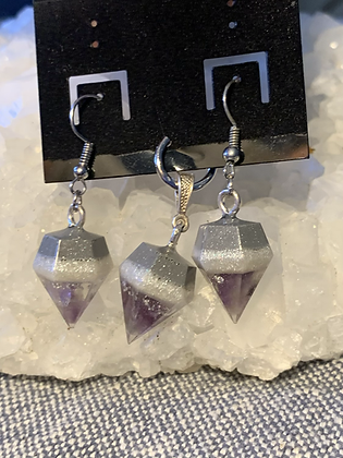 "Amethyst ""Diamond"" Pendant & Earrings"