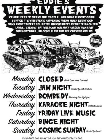 Eddie's Weekly Events Poster