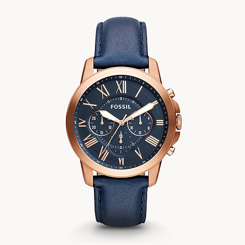 FOSSIL Rose Gold Grant Chronograph Blue Leather Strap Watch - FS4835