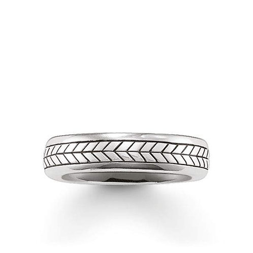 Thomas Sabo Silver Mens Chevron Engraved Ring - TR2003-001-12-64